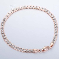 4MM 18K Rose Silver Gold Filled Bracelet Curb Chain Bracelet  Womens  Jewelry  7.32 inch GB125
