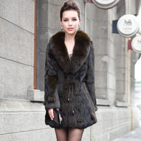 2013 Genuine Rabbit Fur Coat with Fox Trim Collar winter charm garment outerwear women's clothing/WholeSale/Retai/Free Shipping
