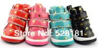 Free shipping! Golden peach heart pet shoes, double belt