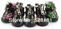 Free shipping! Leopard Zipper pet shoes