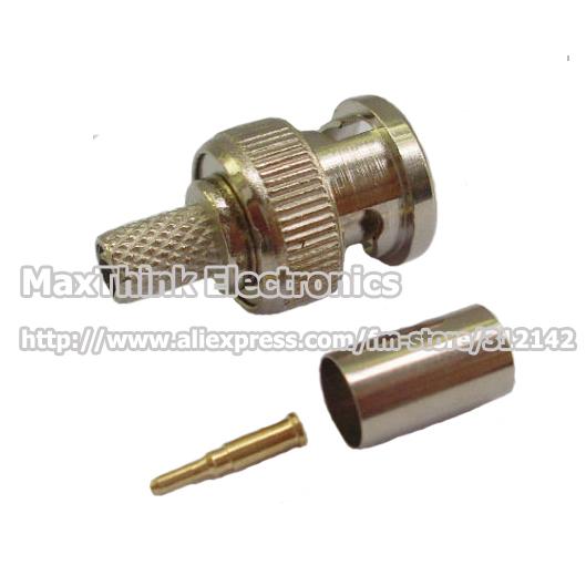 Free Shipping Wholesale 25set =75pcs BNC Male RG 59 COAXIAL Crimp Cable CCTV BNC male 3-piece crimp connector plugs RG59(China (Mainland))