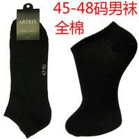 Black sock slippers european version of the sock men's socks plus size socks plus size 100% cotton socks 45 46 47 48 9320