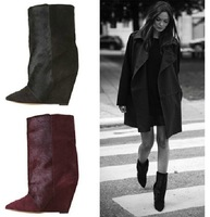 2012 isabel marant shoes high heel wedges boots female genuine leather horse hair boots