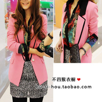 2013 women's colorant match slim one button small suit jacket lucky 1068 powder