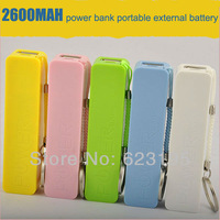 Free Shipping Colorful 2600mAh Portable External Battery Power Bank for iPhone/HTC/Samsung