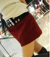 2013  Women's New Free Shipping Lovely Checked Rivets Embellished Leather Belt Skirt