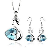 Hot-selling fashion all-match personality crystal little swan earrings necklace set  accessories set jewelry