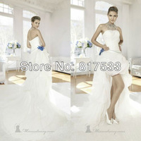 New arrival 2014 dresses Strapless Wedding Gowns Zipper Closure Pleat Floral Princess Long Train Floor Length Bridal Gowns