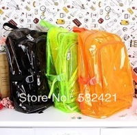 six fluorescent colors transparent bag  travel backpack student shoulder bag backpack school bag free shipping