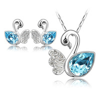 Yiwu accessories crystal accessories necklace set stud earring Nice design Good qulity
