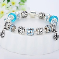 Newest Arrival European Style 925 Silver Charm Bracelet for Women with Murano Glass Beads DIY High Quality Jewelry PA1394