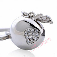 Factory price Fashion jewelry keychain Creative style quality crystal apple key ring Free shipping KL39