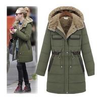 2013 Europe fashionable cotton-padded clothes,Long thickening warm cotton-padded jacket coat,big size plus size winter clothing