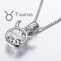 CDE 2013 Fall New Arrival 12 Zodiac Sign 925 Sterling Silver Zircon Taurus Star Necklace Free Shipping  YP291