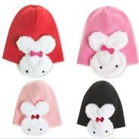 Free shipping baby hat winter hat new ear cap children cotton cap rabbit so cute chiristmas hat 4colors 5pcs/lot