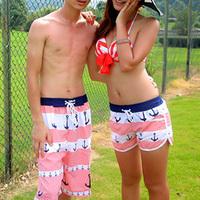 2012 navy lovers board short set beach pants beach couple set new fashion summer pant L XL XXL loose