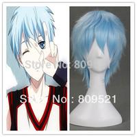 Free shipping 35cm High Quality Top Sale Sky Blue Short Anime straight Kuroko Tetsuya Cosplay Wig+Free Wig Cap