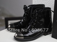 2012 Brand Patent Leather Metal Toe Lace Low Heels Women Ankel Boots,Genuine Leather Boots