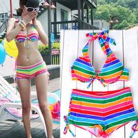 Free shipping Colorful stripe lovers set beach wear bikini female swimwear new fashion sexy gift lady colorful underwear