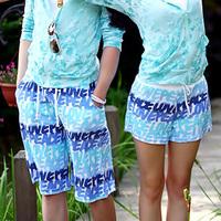2014 men swimwear  twill cotton new fashion lovers beach shorts  sky blue letters board shorts women's beach wear one_plus