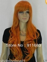 NEW orange long curly Cosplay FULL WIG