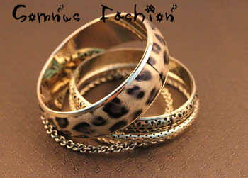 Min.order is $10 (mix order) Free shipping Retro Vintage Jewelry Punk Leopard Bangle Bracelet 4pcs/Set