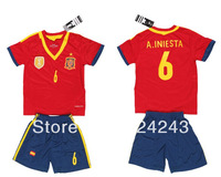 A+++ Hot sales 13/14 Spain home 6# A.INIESTA  Youth Kids soccer uniforms