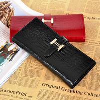 2013 wallet female long women's design genuine leather wallet crocodile pattern japanned leather cowhide women's wallet