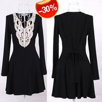 2013 spring women's fashion lace collar slim belt expansion bottom long-sleeve dress CS-848