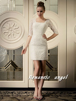 2013 V Back Lace Long Sleeve Short Wedding Dresses