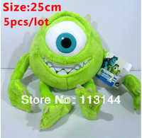 Free shipping wholesale 5pcs/lot 25cm Monsters Inc Mike Wazowski toy Monsters University Mike Wazowski plush doll