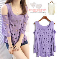Korean version of spring and summer strapless hole openwork crochet loose blouse bat shirt sweater sweater coat Women