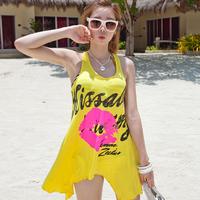 Red and yellow sleeveless tank dress one-piece dress beach dress female skirt