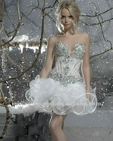 Latest Hand Beaded Crystal Sexy Wedding Night Dresses
