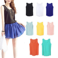 Women Slim Chiffon Blouses Top Vest Shirts Sleeveless Trendy Shirt