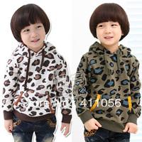2013 autumn fashion leopard print paragraph boys clothing fleece with a hood sweatshirt outerwear wt-0725
