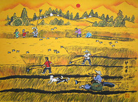 Summer, the countryside. Farmers harvest wheat. The grain harvest. Wholesale sales of Chinese farmer painting.