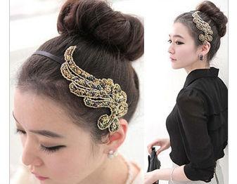Min.order is $12 New Hair Accessaries women's Handmade Fabric Angel's wing Hairbands headband Hair hoop Fashion Korean Jewelry