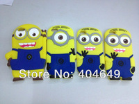 New Arrivals High Quality 3D Minions Despicable ME Soft Silicone case Cover for iPhone4 4S +Retail Package,Free shipping 1PCS