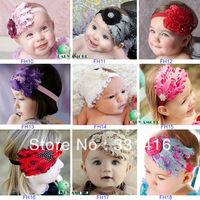 Free Shipping 10pcs/lot 2013 New Arrival Baby Feather Headbands girls flower hairbands with rhinestone Christmas gift headwear