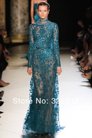 2014 Elie Saab Couture Lace with Tulle Long Sleeve Full Shiny Beads Applique Fashion Floor Length Evening Dresses Prom Ball Gown