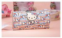 Sanrio Hello Kitty new 2014  Long Wallet Genuine Leather Wallet Women Brand Wallets Women Clutch Women Purse Brand Wallet #W0011