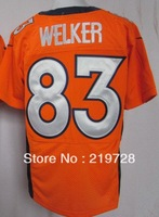 Free shipping  #83 Wes Welker Blue orange white Men's Authentic American Elite Football Jersey,Embroidery logos,size M-3XL