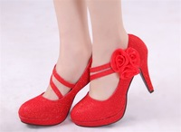 Red handmade flower wedding shoes the bride wedding fashion shoes high-heeled shoes women's