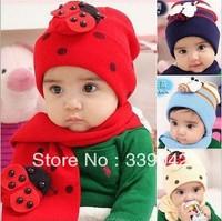 baby hat cap scarf twinset Cotton Beatles hat children hat+scarf Toddler animal Free shipping