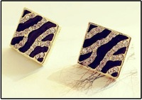 Min.order is $15 (mix order)The fashionable glamour square set auger leopard grain drip stud earrings  free shipping