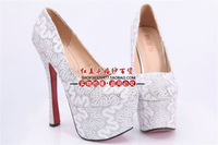 Ultra high heels shoes fashion decorative pattern wedding dress formal dress shoes the bride wedding shoes
