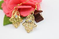 18k gold filled HAMSA earring, free shipping