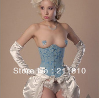Factory Outlets, Cheap, Quality Assurance,2013 Hot,Sexy Blue Satin Underbust Corset,Foshion Bustier,S/M/L/XL/2XL,Q2833-Blue