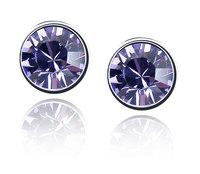 18K White Gold Plated Birthstones Rhinestones Earrings Made of Genuine Austrian Crystals Jewelry 2092